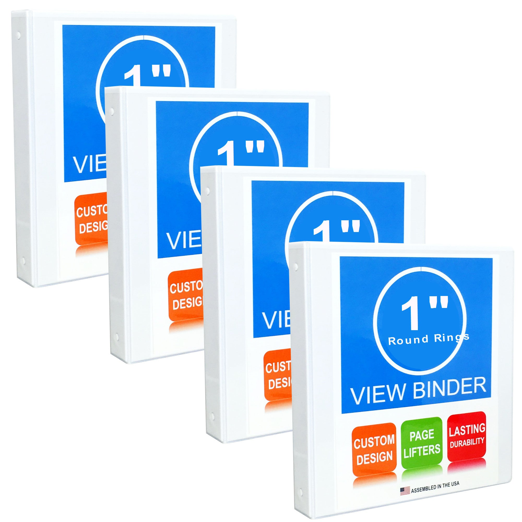 3 Ring Binder, 1 Inch, White, Round Rings, Clear View, Pockets, 4 Pack - RingBinderDepot.com
