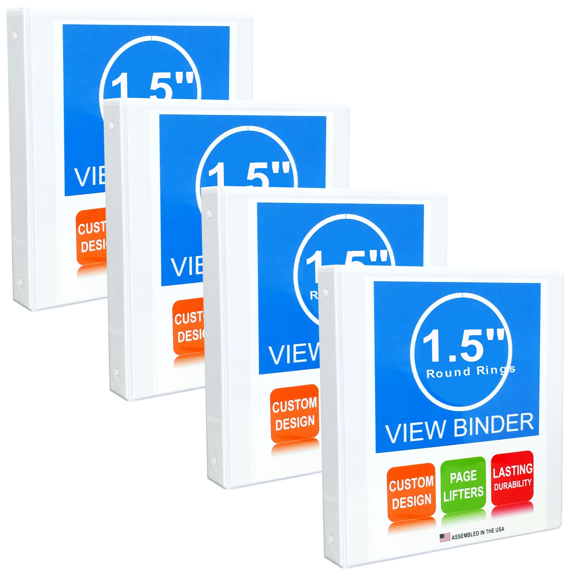 3 Ring Binder, 1.5 Inch Round Rings, White, Clear View, Pockets, 4 Pack - RingBinderDepot.com