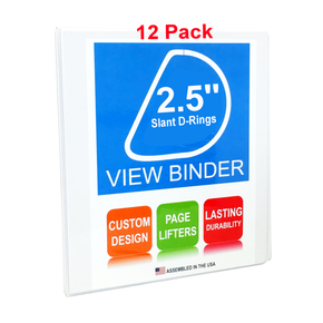 3 Ring Binder, 2.5 Inch Slant D-Rings, White, Clear View, Pockets, 12 Pack - RingBinderDepot.com
