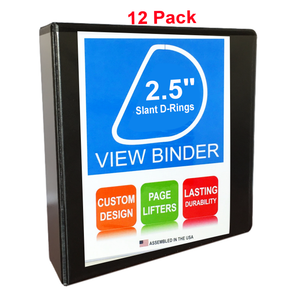 3 Ring Binder, 2.5 Inch Slant D-Rings, Black, Clear View, Pockets, 12 Pack - RingBinderDepot.com