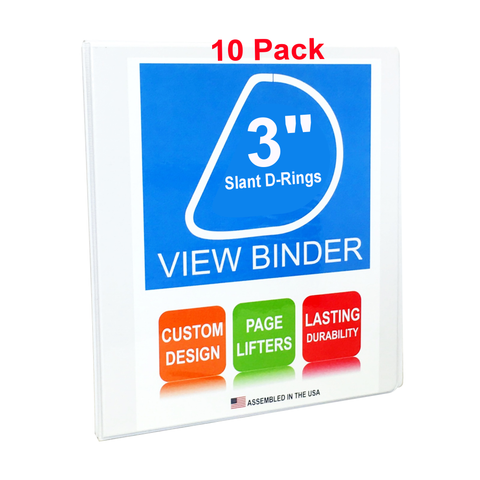 3 ring binder 3 inch slant d rings white clear view pockets 10 pa
