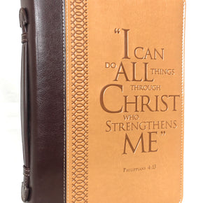"Bible Cover – ""I Can Do All Things Through Christ"" Philippians 4:13 – Large Two-Tone Burgundy/Tan - RingBinderDepot.com"