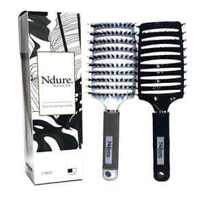 Curved Vented Boar Bristle Styling Hair Brush, 2 PACK, Anti-static Detangler, Thick Curly Hair, Wet or Dry Use - RingBinderDepot.com