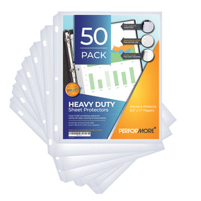 Heavy Duty Clear Sheet Protectors - 50 Pack, Reinforced Holes, 8.5 x 11 Inches, Acid Free/Archival Safe