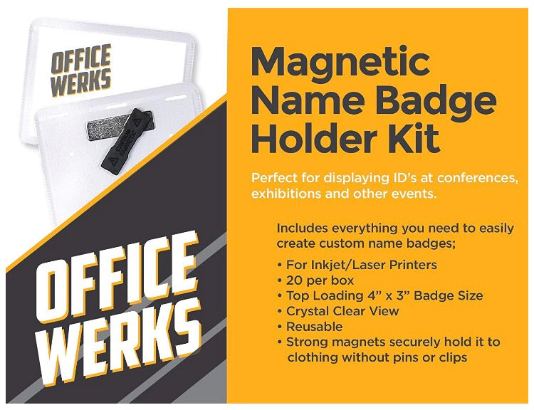 """Officewerks Magnetic Name Badge Holder Kit, 4"""" x 3"""" Clear Top Loading, 20  Pack"""