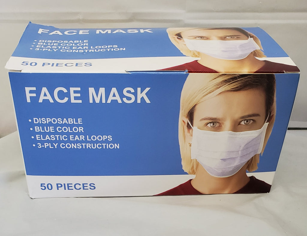 Face Mask (Pack of 50), Blue Single Use Disposable 3-ply Ear loop - StaplermaniaStore