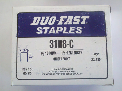 "Duo Fast 3108C 3/8"" Crown X 1/4"" Staple - StaplerManiaStore"