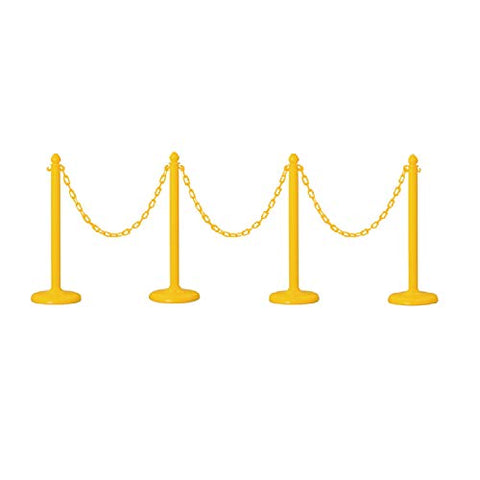 PLASTIC STANCHION IN YELLOW + 32' CHAIN, 4 PCS w/C-Hook - StaplerManiaStore