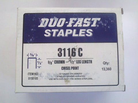 "Duo Fast 3116C 3/8"" Crown X 1/2"" Staples - StaplerManiaStore"