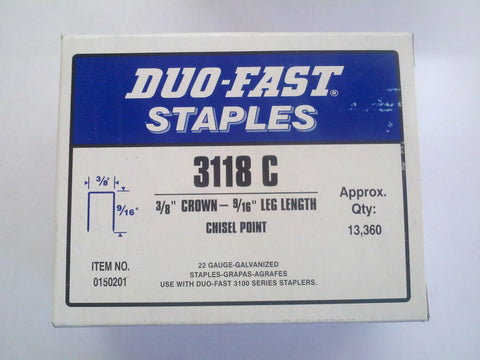 "Duo Fast 3118C 3/8"" Crown X 9/16"" Staples - StaplerManiaStore"