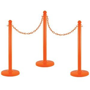 Plastic Stantion - Set of 4 Orange with Chain and Hooks