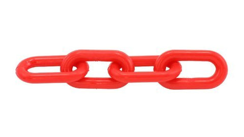 "Heavy Duty Plastic Barrier Chain, 2"" (8mm) X 50', Red - StaplerManiaStore"