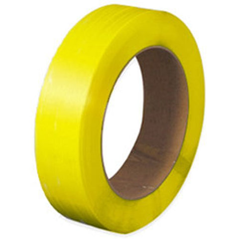 "PolyPRO Strap - Poly Hand Grade (Yellow) - 16 X 6 Core - 1/2"" X 9000'.02 Thickness, 350 lbs Tensile (1 Coil) - CWC-178030 - StaplerManiaStore"