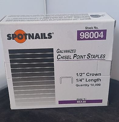 "Spotnail Series 80-1/4""1/2"" Crown 21 Ga Galvanized Upholstery Staples 10,000/Box - StaplermaniaStore"
