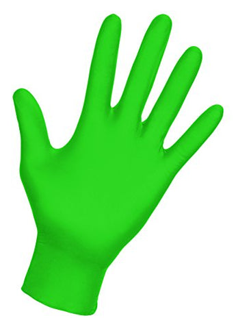 SAS Safety 66552 Derma-VUE Powder-Free Exam Grade 6 Mil Nitrile Gloves, Large, Neon Green - StaplerManiaStore