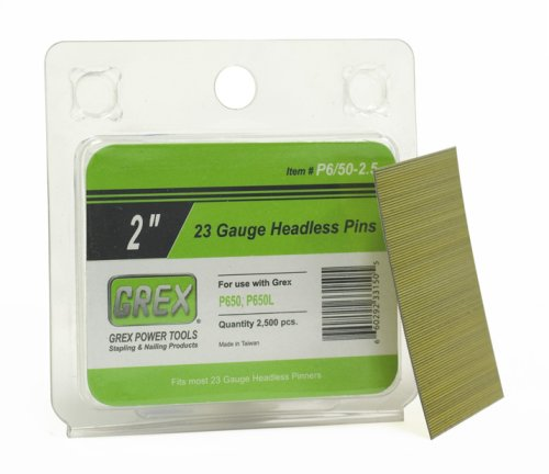 Grex P-6/50-2.5 23 Gauge 2-Inch Length Headless Pins (2,500 per Box) - StaplerManiaStore
