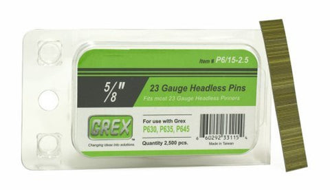 GREX P6/15-2.5 23 Gauge 5/8-Inch Length Headless Pins (2,500 per box) by Grex Power Tools - StaplerManiaStore