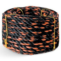 "Set of 12 - 3 Strand Black Orange Polypropylene California Truck Rope 1/2"" 50' 3780 lbs Tensile - StaplerManiaStore"