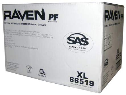 SAS Safety 66519 Raven 6 mil Black Nitrile Disposable Gloves - X-Large 2 Pack (100 Gloves per Box) - StaplerManiaStore