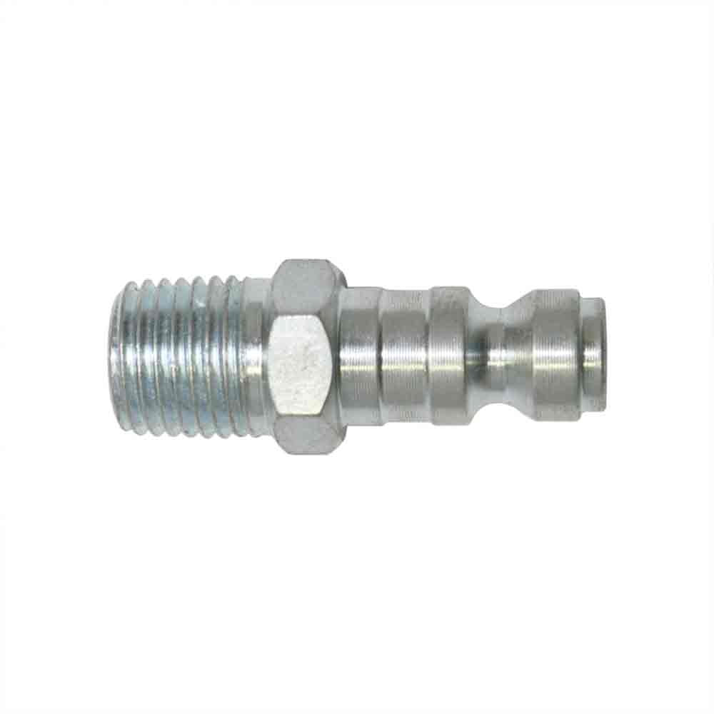 Interstate Pneumatics CPA441Z 1/4 Inch Automotive Steel Coupler Plug x 1/4 Inch Male NPT - Silver Zinc Color