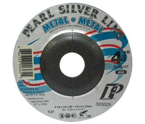 "Pearl Abrasive DC4510T 4-1/2"" by 1/4"" by 7/8"" Depressed Center Grinding Wheels - StaplerManiaStore"