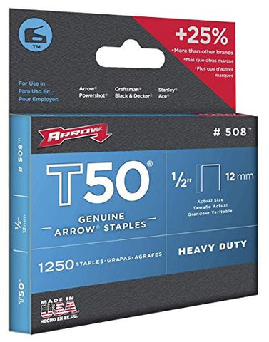 Arrow 508 Genuine T50 1/2-Inch Staples, 1,250-Pack - StaplerManiaStore