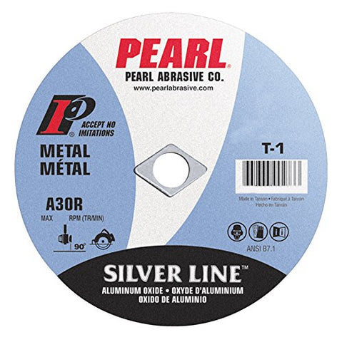 "Pearl 4 1/2"" x 1/16"" x 7/8"" Silver Line AL/OX Cut-Off Wheel (Pack of 25) - StaplerManiaStore"