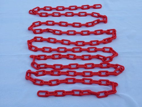 "2"" (8 MM) Plastic Chain in Red, 50 feet Length - StaplermaniaStore"