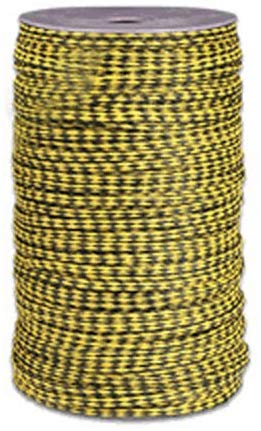 "MFP Braided Cord - Size #8, 1/4"" x 1000 ft, Yellow w/blk Tracer - StaplerManiaStore"