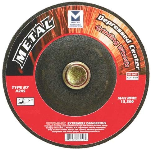 Mercer Abrasives Type 27 Depressed Center Grinding Wheels 4-Inch by 1/4-Inch by 3/8-Inch - StaplerManiaStore