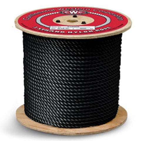 "3-Strand Nylon Rope - 1/4"" x 600 ft, Black - StaplerManiaStore"