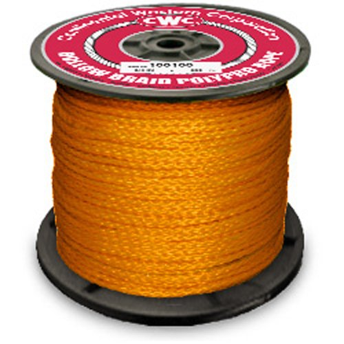 "Hollow Braid Polypropylene Rope - 1/4"" x 1000 ft., Orange - StaplermaniaStore"