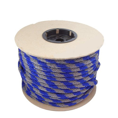 115454 5/8in Solid Braid Multifilament Poly Blue/Grey Halter Rope 200ft - StaplerManiaStore