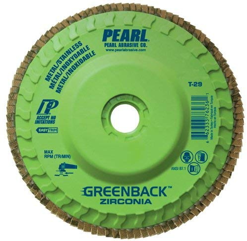 "Pearl GREENBACK 5"" x 5/8""-11Trimmable Zirconia Flap Disc - 40 GRIT (Pack of 10) - StaplermaniaStore"