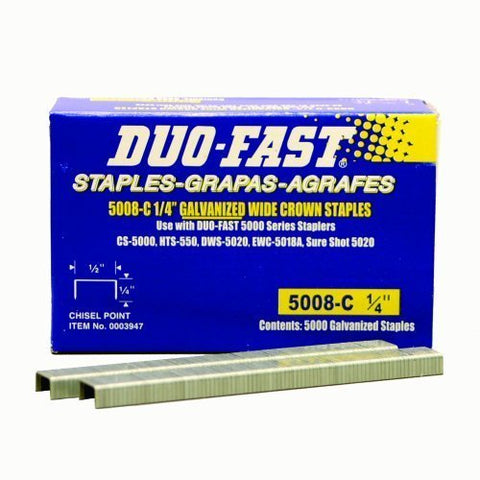 Duo Fast 5008C 20 Gauge Galvanized Staple 1/2-Inch Crown x 1/4-Inch Length, 5000 Pack - StaplerManiaStore