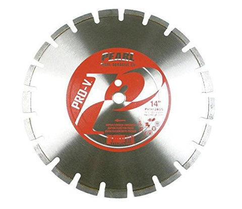 Pearl Abrasive Pro-V PV1412AGS Asphalt and Green Concrete Segmented Blade 14 x .125 x 1, 20mm - StaplerManiaStore