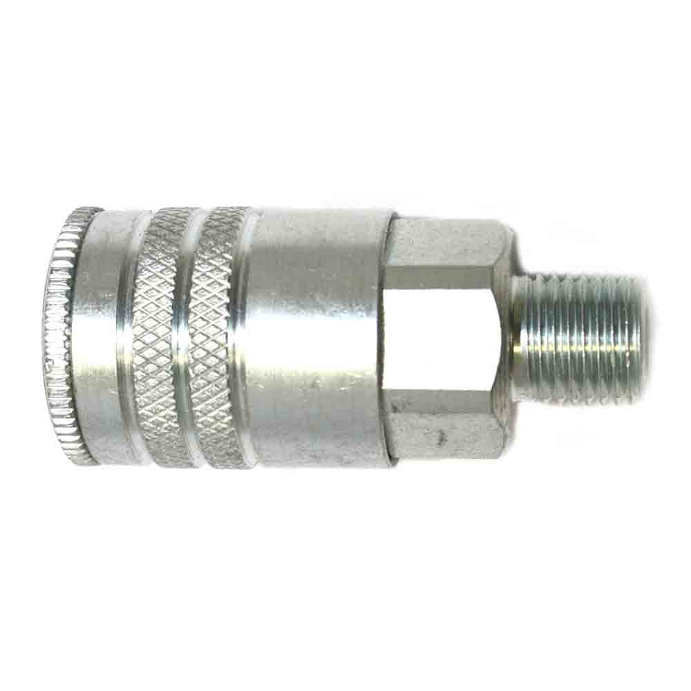 Interstate Pneumatics CH641 3/8 Inch Industrial Steel Coupler 1/4 Inch Male NPT