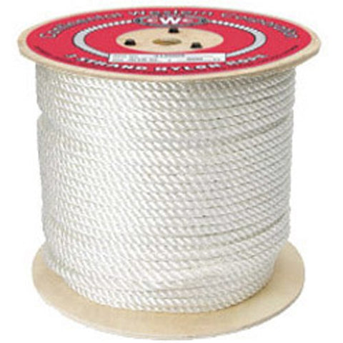 "3-Strand Nylon Rope - 1/2"" x 600 ft, White - StaplerManiaStore"