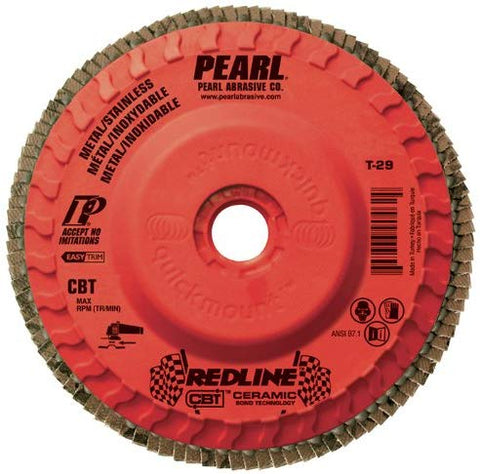 "Pearl REDLINE 4-1/2"" x 5/8""-11 CBT Trimmable Flap Disc - 40GRIT (Pack of 10) - StaplerManiaStore"
