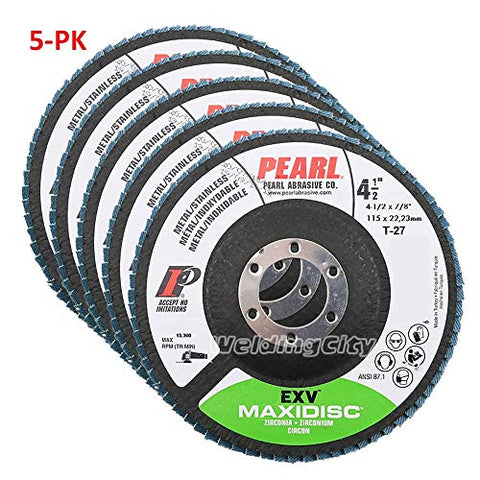 5-PK Pearl Abrasive EXV Zirconia Maxidisc Flap Disc for Metal and Stainless Steel Type 27 - StaplerManiaStore