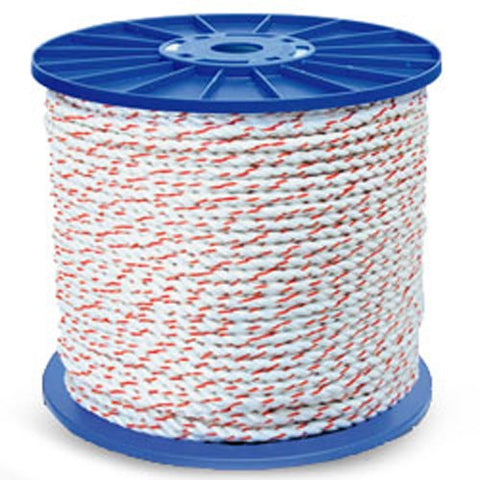 3-Strand Poly Dacron Truck Rope, White w/ Orange Tracers - StaplerManiaStore