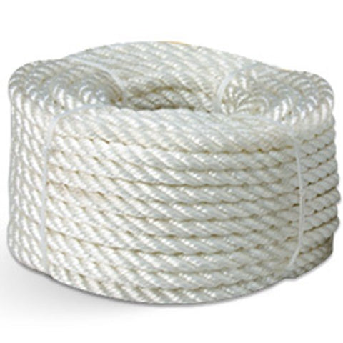 "3-Strand Nylon Rope - 3/8"" x 50 ft., White (Pack of 12 rolls) - StaplerManiaStore"