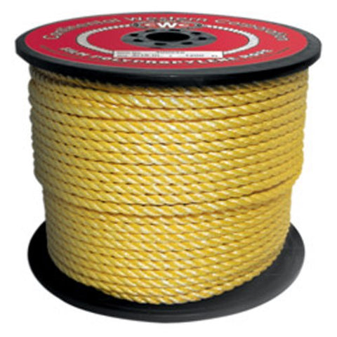 CWC 3-Strand Polypropylene Split Film Rope, Yellow - StaplerManiaStore