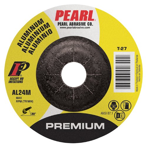 "Pearl Premium 4-1/2"" x 1/4"" x 7/8"" Depressed Center Grinding Wheel - Aluminum (Pack of 25) - StaplerManiaStore"