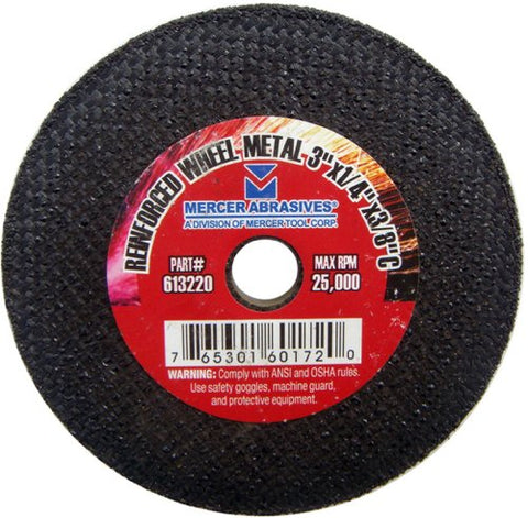 Mercer Abrasives 613200-25 Small Diameter High Speed Fully Reinforced Cut-Off Wheels 3-Inch by 3/16-Inch by 3/8-Inch M, 25-Pack - StaplermaniaStore