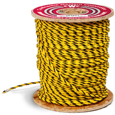 "3-Strand Polypropylene Rope - 5/16"" x 1200 ft., Yellow & Black - StaplerManiaStore"