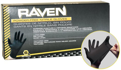 SAS Safety 66518 (5 Pack) Raven Powder-Free Black Nitrile 6 Mil Gloves, Large - StaplerManiaStore