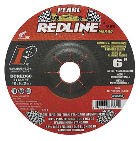 "Pearl Redline 6"" x 1/4"" x 7/8"" Depressed Center Grinding Wheel (Pack of 10) - StaplerManiaStore"