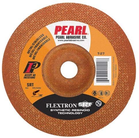 "Pearl 4-1/2"" x 1/8"" x 7/8"" Flextron SRT Grinding Wheel 60 Grit TYPE 27 - Metal (Pack of 25) - StaplerManiaStore"