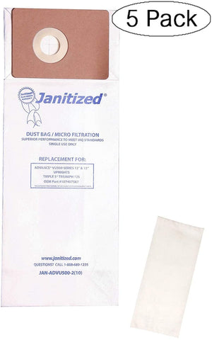 Janitized JAN-ADVU500-2(10) Advance VU500 Premium Replacement Commercial Vacuum Paper Bag, Includes 2 Pre Filters (Pack of 10) - StaplermaniaStore
